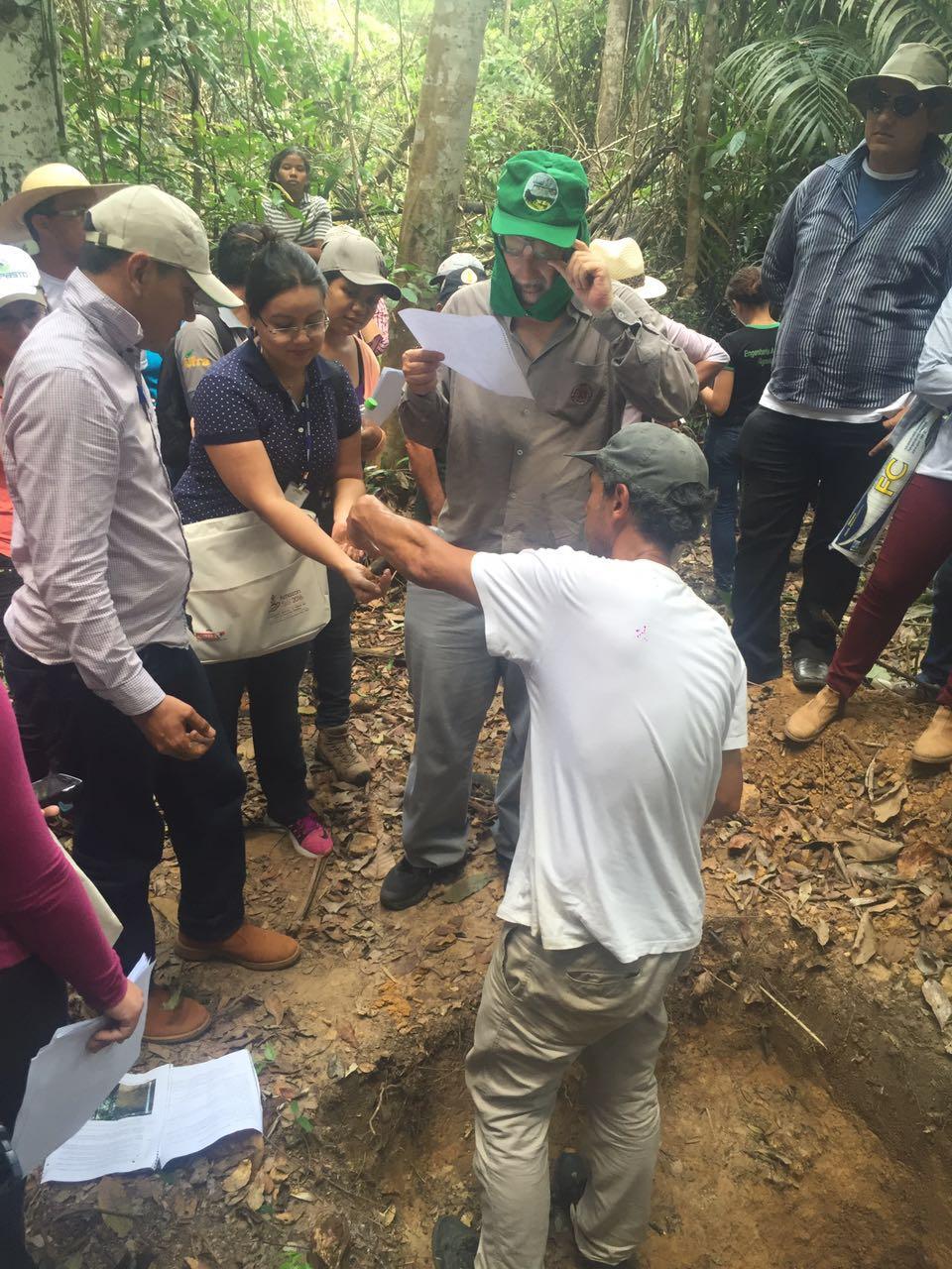 O último dia do Amazon Soil foi reservado para as excursões técnicas: uma para a área de um produtor rural no município de Capitão Poço-PA, com análise de perfil de solo e discussões sobre manejo do solo x manejo das culturas, e outra para visitas a minas de fosfato, no município de Bonito-PA, e calcário no munícipio de Primavera-PA.
